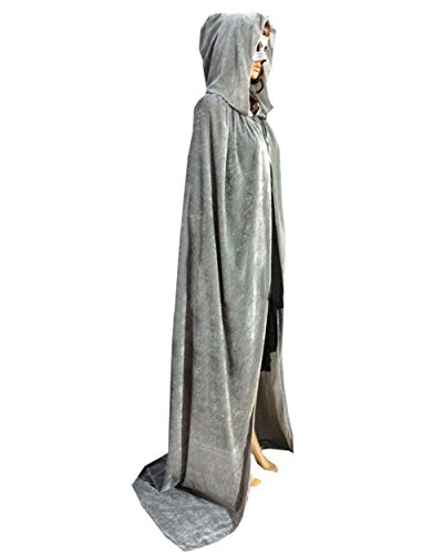 Robe With Grey Hood Costumes (MorySong Full Length Velvet Hooded Cape Costume Halloween Party Accessory M Grey)