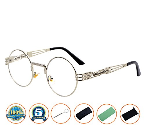 QIYIGE John Lennon Style Metal Spring Frame Round Steampunk Glasses with Clear Lens (Silver Frame/Clear Lens, - Steampunk Glasses Lennon Style