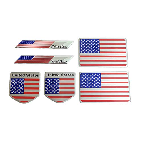 Metal American Flag Emblems Stickers Pack, 6 PCS Lightweight Aluminum Alloy Stars and Stripes Badge Decorative Decals for Car Bumper Laptop Motorcycle Luggage Bike Wall Door