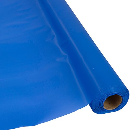 Plastic Party Banquet Table Cover Roll - 300 ft. x 40 in. - Disposable Tablecloth (Blue) by Schorin