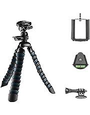 Mantona Armadillo DSLR flexibles Mini Kamera und Tisch Stativ für Kamera Smartphone Actioncam, Traglast 3 kg, Höhe 28 cm, mit Kugelkopf, inkl. Smartphone Halter und GoPro Adapter, schwarz/grau