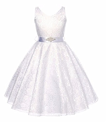 Girls Dresses 7-16 Special Occasion Formal Prom Ball Gowns 6 Years Old Sleeveless White Lace Dress for Wedding Birthday Party 4-6T White Flower Spring Summer Holiday Dress for Children (White 140)