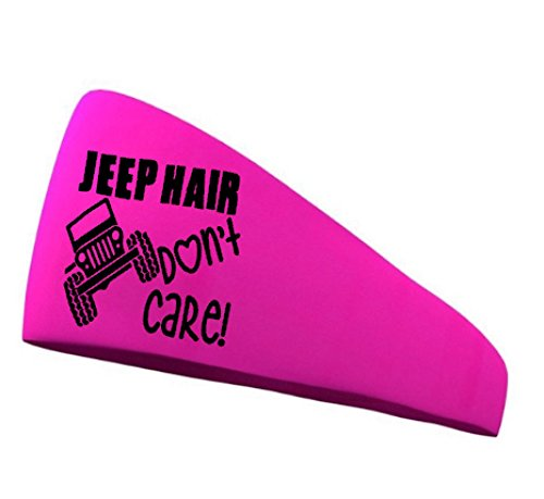 Jeep Hair Don't Care! Neon Pink headband with white letters. Sweat Wicking Headband. Sweatband & Sports Headband for Running, Crossfit, Working Out Or Around The House. Moisture Wicking.