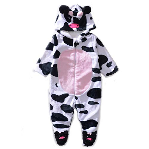 (Exemaba Baby Winter Jumpsuit - Infant Boys Girls Fleece Onesie Romper Toddler Warm Winter Hoodie Footies Outfit Cow Cosplay)