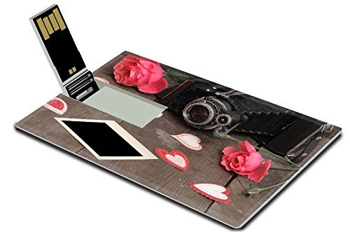 Luxlady 32GB USB Flash Drive 2.0 Memory Stick Credit Card Size Vintage camera and roses IMAGE 35131438 from Luxlady