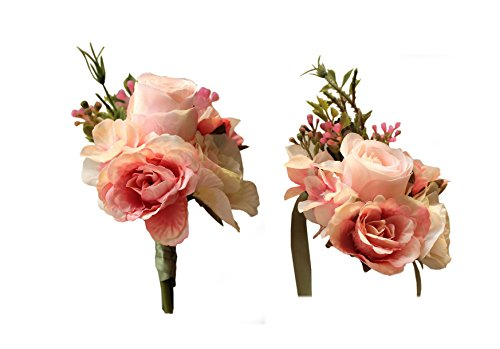 (MOJUN Artificial Rose Flower Boutonniere Corsage Set Handmade Floral Silk Fabric for Grooms Groomsmen Bridal Bridesmaids Prom Party Wedding Decor, Pink)