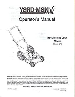 mtd 20 inch yard man mulching lawn mower model 573 owner s rh amazon com MTD Yardman Riding Mower Carb Linkage 600 Series Yardman MTD Auto Drive