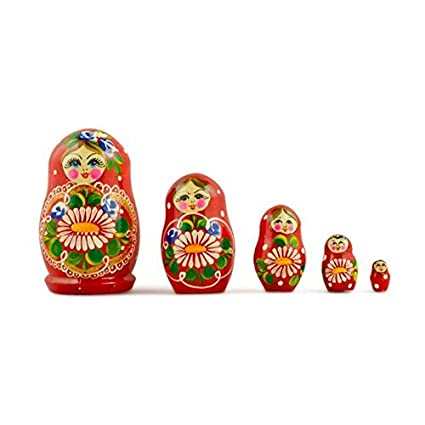 Set of 5 Red Dress with Flowers Wooden Russian Matryoshka Dolls 3.5 Inches