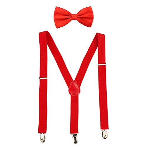 HABIBEE Solid Color Mens Suspender Bow Tie Set Clip On Y Shape Adjustable Braces (Red)