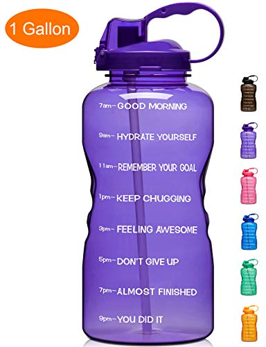 Giotto Large 1 Gallon/128oz Motivational Water Bottle with Time Marker & Straw, Leakproof Tritan BPA Free, Ensure You Drink Enough Water Daily for Fitness, Gym and Outdoor Sports-Purple