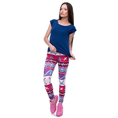 Ecurson Women Leggings Print Fitness Legging High Waist Elastic Leggins Trouser Pants (M)