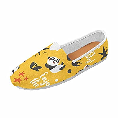 InterestPrint Women's Slip on Loafer Flat Canvas Sneakers Square Toe Shoes Panda,Enjoy The Day,Star,Heart,Fun,Yellow