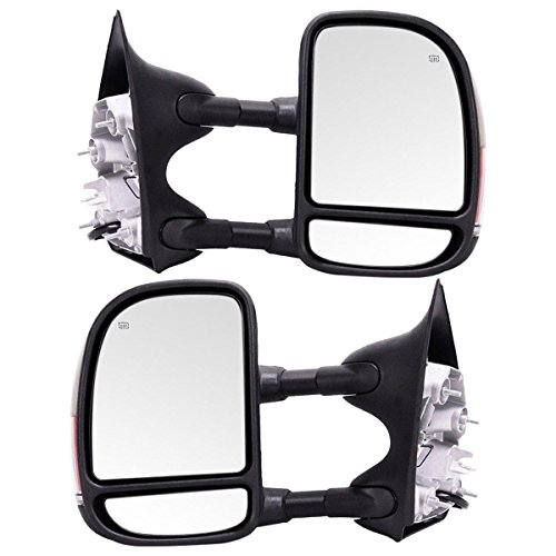 Make Auto Parts Manufacturing Set of 2 Passenger and Driver Side Power Operated Heated Tow Mirrors For Ford F250/F350 Super Duty 99-07 / Excursion 01-05 - FO1320218, FO1321218, FO1320227, ()