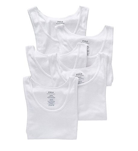 assic Fit Ribbed 100% Cotton Tanks - 5 Pack (LCTKP5) 2XL/White ()