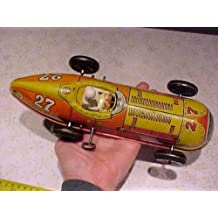 Vintage Old MARX Indy 500 Style Tin Windup Wind Up Toy Race Racer Car & Driver