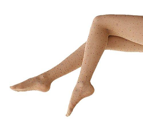 L&ZZ Women's Sexy Sparkle Rhinestone Fishnets Tights High Waist Pantyhose Crystal Mesh (Plus Size Glitter Tights)