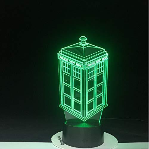 Lampada Da Notte A Led 3D 7 Colori Cambia Lampada Doctor Who Police Box Lampada Lampada Da Tavolo In Acrilico Usb Luci Lampadina Multicolore Lampadina Regalo Per Bambini