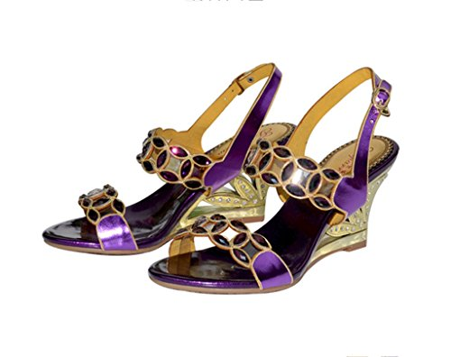 Doris Womens Evening Wedding Dress Shoes Glitter Rhinestone Heels Sandals Summer Fashion Wedge Slippers Purple