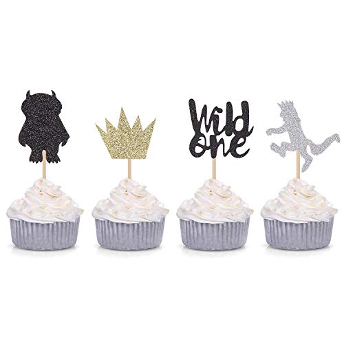 Where the Wild Things Are Inspired Cupcake Toppers Wild One Cupcake Picks Baby's First Birthday Party -