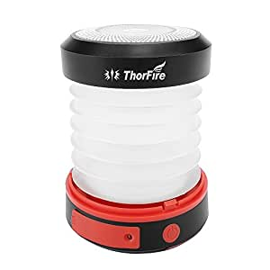 Thorfire Camping Lantern USB Rechargeable Solar Powered Emergency Light LED Camping Tent Light Lamp Portable Flashlight Safe Light for Camping Hiking Jogging Night Walking -CL04