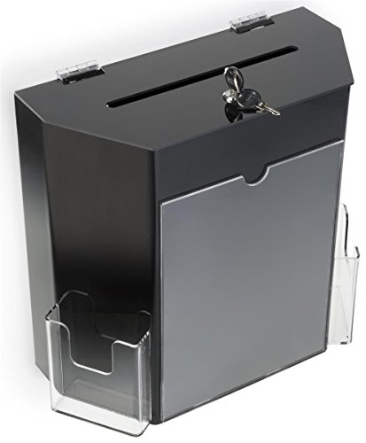 Tabletop Black Plastic Suggestion Box, 2 Pockets, Locking with 2 Keys (Plastic Suggestion Box)