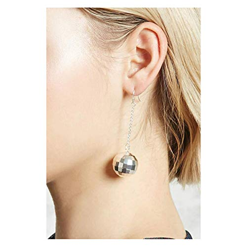 QXFQJT Disco Ball Earrings for Women, Silver Disco Ball Pendant Dangle Drop Earrings -