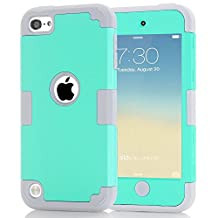 iPod Touch 6 Case,iPod Touch 5 Case, Jwest [Pinky Series] 3-Piece Style Hybrid Hard Case Cover for Apple iPod touch 5 6th Generation (Mint Green+Grey)