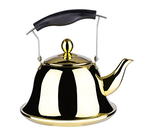 Onlycooker Whistling Tea Kettle Stainless Steel Stovetop Teakettle Sturdy Teapot for Tea Coffee Fast Boiling with Infuser Color Gold Mirror Finish 2 Liter / 2.1 Quart (Black White Teapot And)