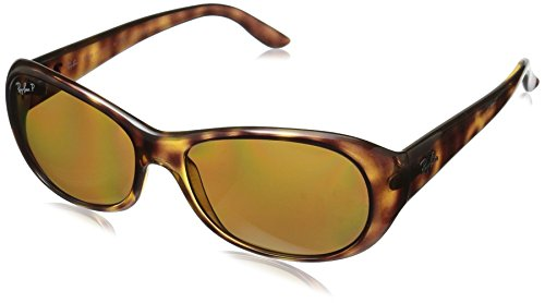 Ray-Ban Women's Rb4061 Polarized Oval Sunglasses, Havana, 55 - Face Small Ray Ban
