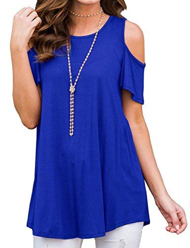 Aifer Womens Long/Short Sleeve Cold Shoulder Tunic Tops Loose Blouse T-Shirt