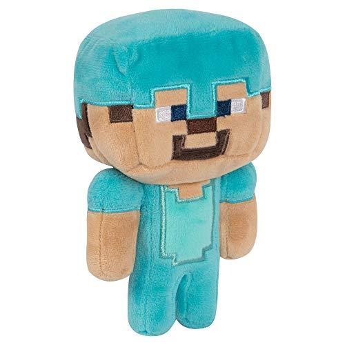 JINX Minecraft Happy Explorer Diamond Steve Plush Stuffed Toy, Multi-Colored, 7