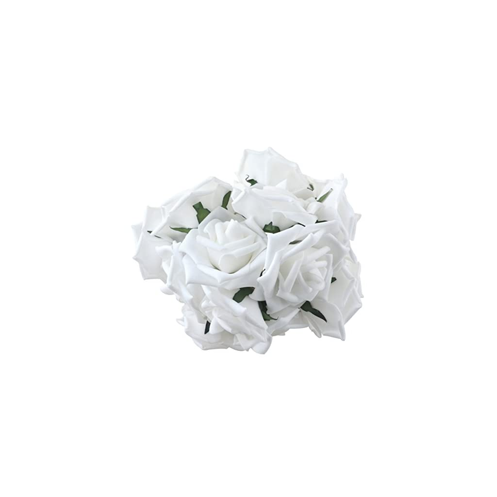 obmwang 50PCS White Foam Roses Flowers, Real Touch Artificial Rose Flowers DIY 3D Wedding Bridal Bouquet Home Hotel Party Garden Floral Decor White