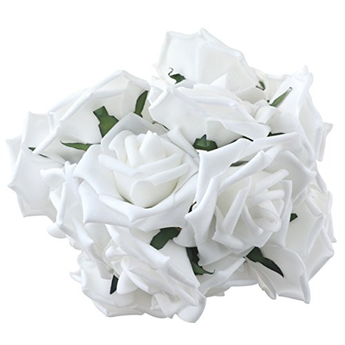 obmwang 50PCS White Foam Roses Flowers, Real Touch Artificial Rose Flowers DIY 3D Wedding Bridal Bouquet Home Hotel Party Garden Floral Decor White from obmwang