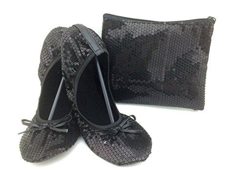 (Shoes 18 Women's Foldable Portable Travel Ballet Flat Shoes w/Matching Carrying Case Black Sequin 9/10)