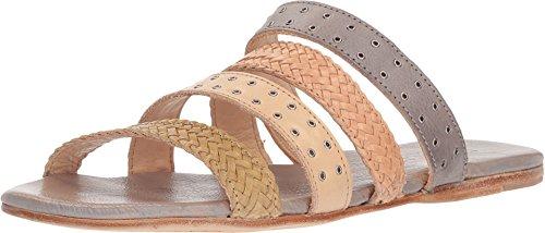Bed|Stu Women's Henna Leather Sandal (10 M US, Cashew Bone Clay Light Grey Rustic) ()