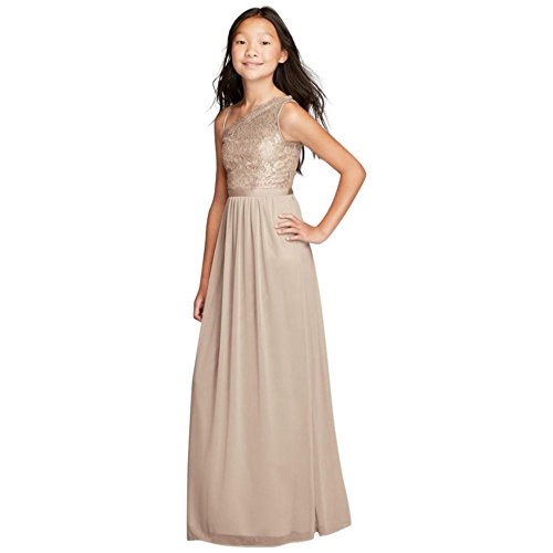 David's Bridal One Shoulder Long Lace Bodice Dress Style JB9014, Gold Metallic, 12 by David's Bridal