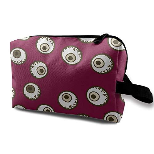 Cool Halloween Eyeball Portable Travel Makeup Bags Toiletry Bag Pen Organizers With -