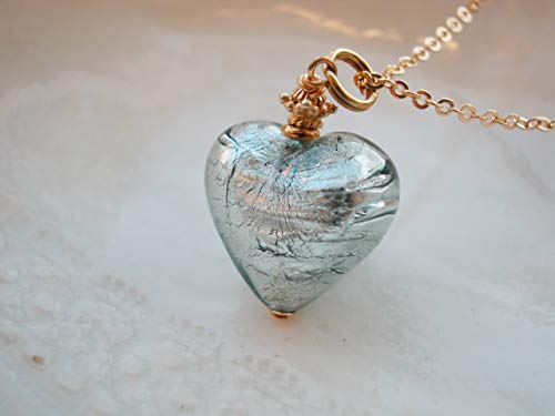 Murano Gray Glass Heart Necklace, Unusual Size ()