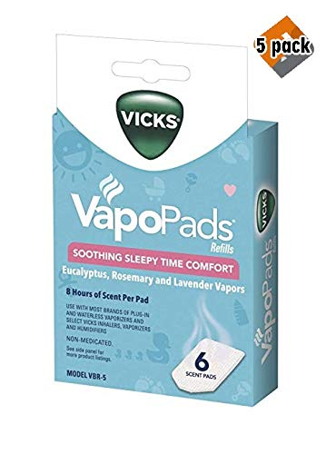 Vicks Sleepytime Waterless Vaporizer Scent Pads Rosemary, Lavender and Eucalyptus Scented Vapor Pad Refills, Vicks VapoPad Aromatic Pads for Use with Vaporizers - 5 Pack