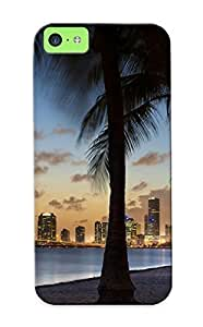 XiFu*Meiiphone 4/4s Case, Premium Protective Case With Awesome Look - Tropical Buildings Skyscrapers Palm Trees Beach OceanXiFu*Mei