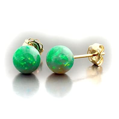 Trustmark 14K Yellow Gold 6mm Kiwi Green Created Opal Ball Stud Post Earrings, Margarita