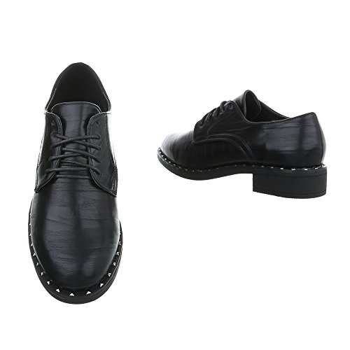 Ital-Design Women's Loafer Flats Block Heel Lace-UPS Black 2017-9 bMcfP54S7H
