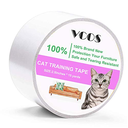 (VCOS Anti-Scratch Cat Training Tape Clear Double Sided Sticky Tape for Door, Couch, Furniture and Leather Scratch Guard Protector Tape etc 2.5 Inches x 15 Yards for Cat Pet)