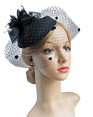 Fascinator Hair Clip Pillbox Hat Bowler Feather Flower Veil Wedding Party Hat Tea Hat