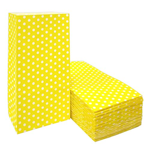 50 PCS Mini Paper Bags Yellow Gift Bags Polka Dot Paper Bags for Snack Nuts Goodie Treat Bags for Kids' Birthday Wedding Party Favor Bags (3.5 x 2.3 x 7 in Yellow) ()