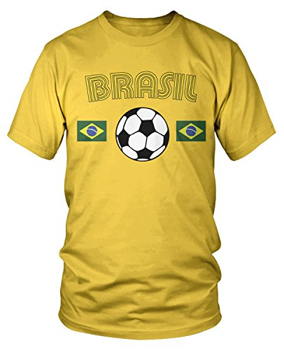 Amdesco Men's Brasil Soccer, Brazil Brazilian Football T-Shirt, Yellow XL -
