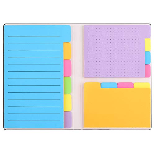 Sticky Notes Set with Bookmark Index, 140 Pages Divider Sticky Notes Bundle, 60 Ruled Lined Notes (4x6), 40 Dotted Notes (3x4), 40 Blank Notes (2.7x4.2) for Planner Bullet Journaling Notebook Textbook