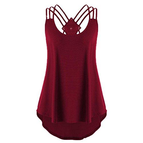Top Manche Fashion ♬GongzhuMM Ete Dentelle Débardeurs Sexy sans Top Élégant Soiree Haut Femme Shirt Rouge Printemps Fille Taille Chemise Blouse Veste Grande T Chic Tank Wr8qHZ0w8