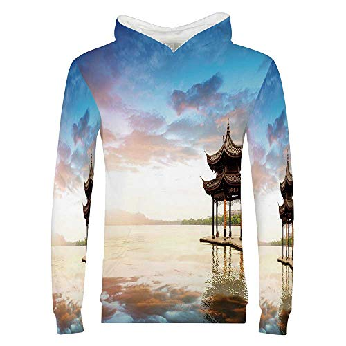 Ancient China Decorations 3D Printed Child Hoodie,Traditional Pavilion by The Sea Peaceful Sunset Relaxing View for Kids Boys Girls,S