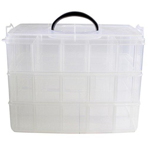 Transparente Stapelbox 3stöckig Organisation für Hobby Handarbeiten- 30 Fächer von Kurtzy TM